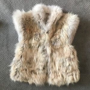 Vintage Coyote Fur Vest with Structured Shoulder S